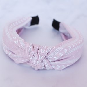 Lilac Knotted Alice Band White Print