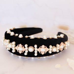 Padded Alice Band in Black with Pearls