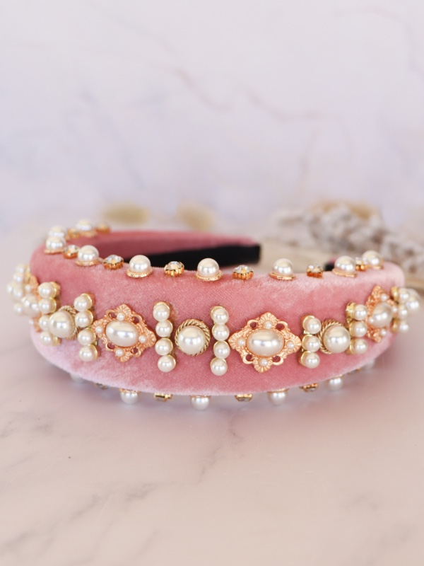 Alice Band in Pink with Pearls Padded
