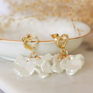 Earrings in Heart Shaped Gold and Pearls