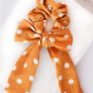 Bow Scrunchie in Mustard Coloured